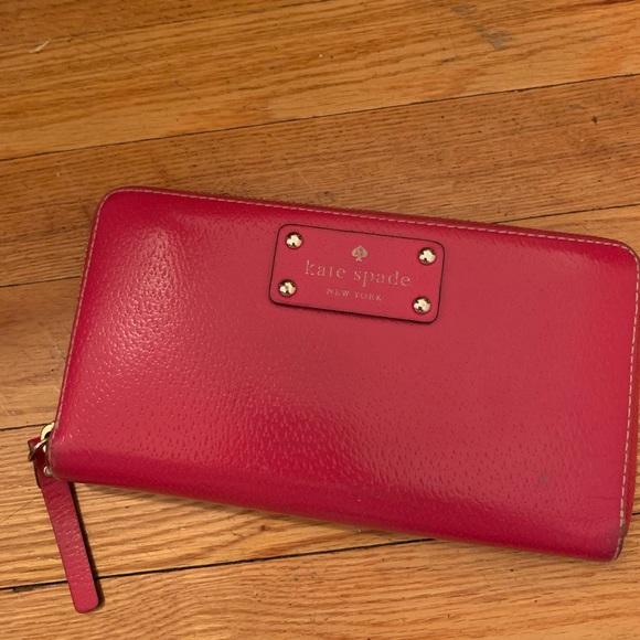 kate spade Handbags - Pink, leather, zip-around, Kate Spade wallet
